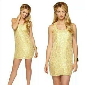 Lilly Pulitzer Betty Chiffon Metallic gold dress